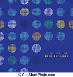 Abstract textile polka dots on blue frame corner pattern background