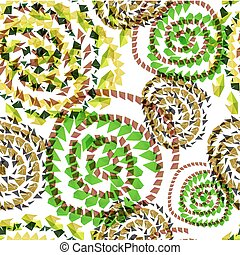 Abstract textile seamless pattern of green triangles twisted spiral