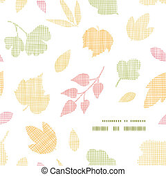 Abstract textile texture fall leaves frame corner pattern background