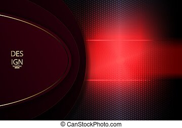 Abstract textural mesh background with oval dark frame with gold rim