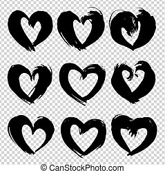 Abstract  texture brushstrokes in heart shape black ink isolated on imitation transparent background