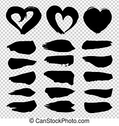 Abstract  texture brushstrokes straight and in heart shape black ink isolated on imitation transparent background