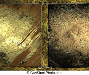 Abstract texture of gold plates with an old plate in the middle