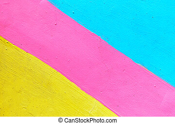 Abstract texture of plaster light blue and yellow with pink-colored line.