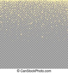 abstract texture with gold neon glitter particles effect on transparent background for luxury greeting rich card, poster, banner, sparkle sequin tinsel yellow bling, vector illustration