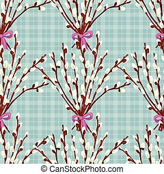 Abstract texture with pussy willow. Seamless pattern with festive flower bouquet ornament
