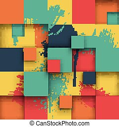 Abstract Texture with Squares and Paint Splashes.