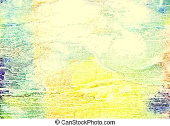 Abstract textured background: blue, red, and green patterns on yellow backdrop