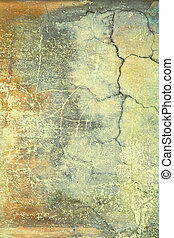 Abstract textured background: brown and blue patterns on yellow backdrop