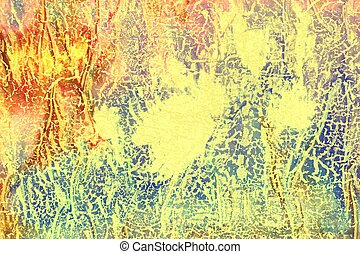 Abstract textured background: red, blue, and yellow patterns