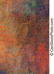 Abstract textured background: red, brown, and blue patterns on old scratched wall