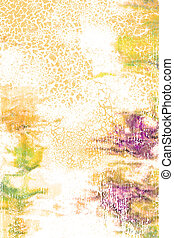 Abstract textured background: red, green, and yellow patterns on white backdrop