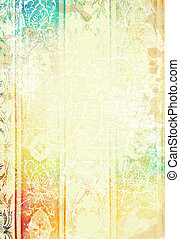 Abstract textured background: white flower-like patterns on red / blue / yellow backdrop