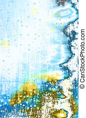 Abstract textured background: white, brown, and yellow patterns on blue backdrop