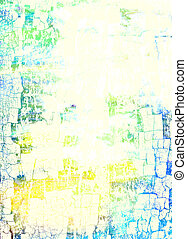 Abstract textured background with blue, yellow, and green patterns on white backdrop