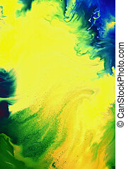 Abstract textured background with green, blue, and brown patterns on yellow backdrop