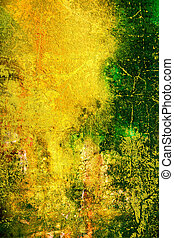 Abstract textured background with green, orange, and brown patterns on yellow backdrop
