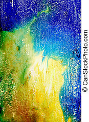 Abstract textured background with green, yellow, and brown patterns on blue backdrop