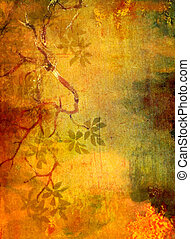 Abstract textured background with red, green, and brown floral patterns on yellow backdrop