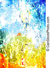 Abstract textured background with yellow, blue, and orange patterns on white backdrop