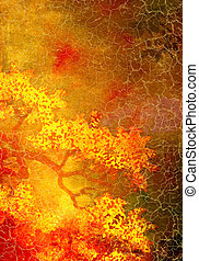 Abstract textured background with yellow and red floral patterns on brown backdrop
