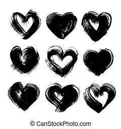 Abstract textured black ink strokes in heart shape big set isolated on a white background