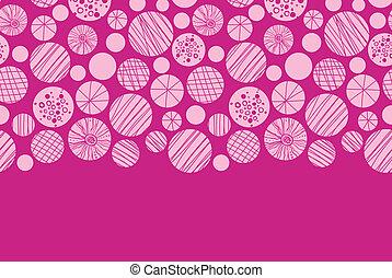 Abstract textured pink circles horizontal border seamless pattern background