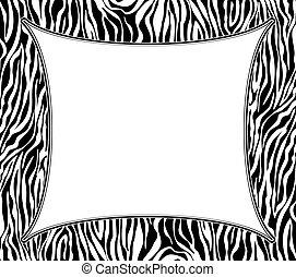 abstract, textuur, vector, zebra vellen, frame