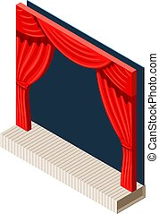 Abstract theater on a white background. Stage and backstage theater in trend isometric style. Vector illustration