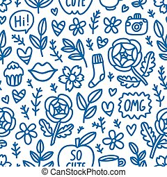 Abstract things doodle seamless pattern