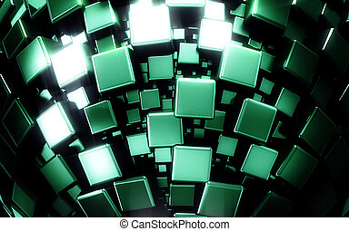 Abstract third dimensional green metal boxes background