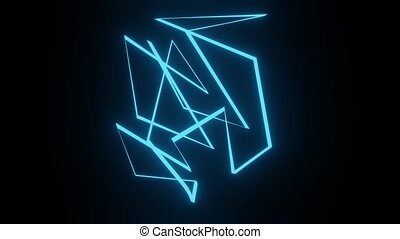 Abstract three-dimensional glowing blue object rotating on a black background. The intensity of the blue color changes. FullHD resolution, blender render