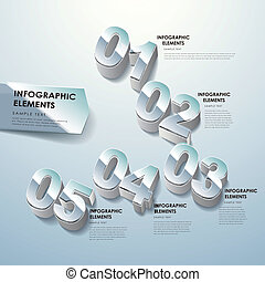 abstract three dimensional number infographics - modern...