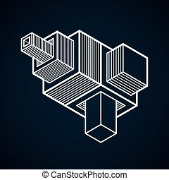 Abstract three-dimensional shape, vector design cube...
