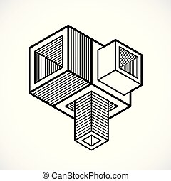 Abstract three-dimensional shape, vector design cube element...