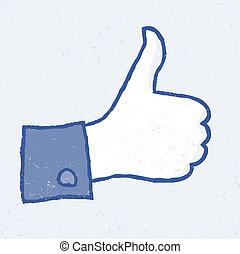 Abstract thumb up icon. Grunge illustration, EPS10.