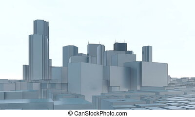 Abstract Tokyo city skyscrapers white background