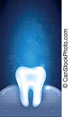 Healthy white tooth and gums illustration, abstract blue dental design