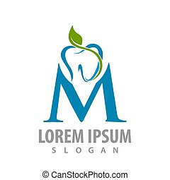 abstract tooth leaves with M letter logo concept design. Symbol graphic template element vector