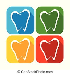 Abstract Tooth Line Art Rounded Square Flat Icons