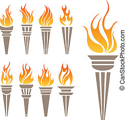 Torch symbol set - Abstract Torch symbol set for Olympic ...