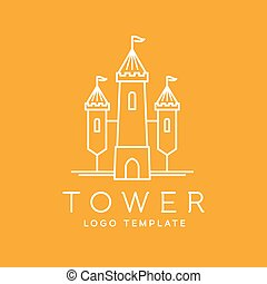 Abstract Tower Outlined Vector Logo Template