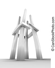 abstract tower sculpture - An abstract tower sculpture with...
