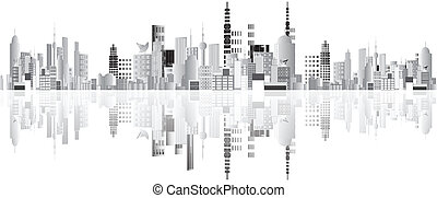 Abstract town vector - cityscape, buildings vector placed ...