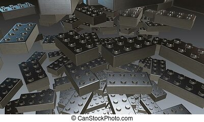 Abstract toy blocks in metallic