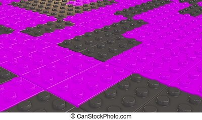 Abstract toy blocks in purple