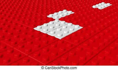 Abstract toy blocks in red and whit