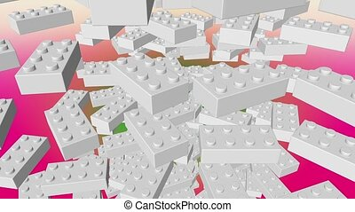 Abstract toy blocks in white