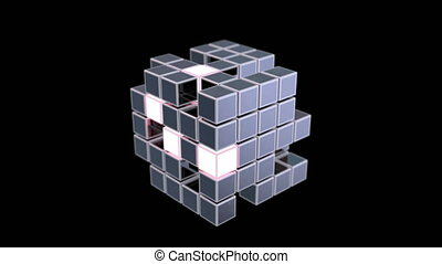Abstract transforming cube, 3d animation.