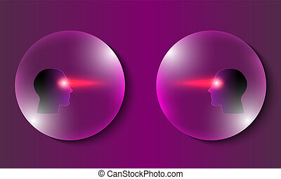 Abstract transparent bubbles with heads. Vector concept for ...